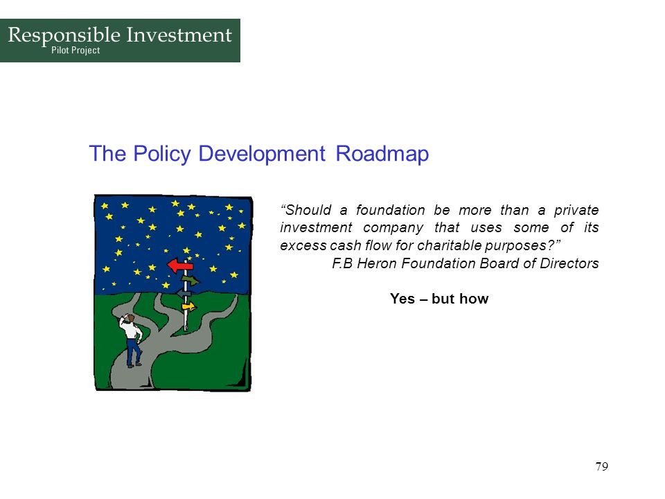 79 The Policy Development Roadmap Should a foundation be more than a private investment company that uses some of its excess cash flow for charitable