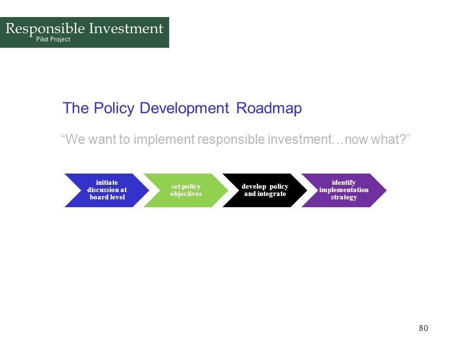 80 The Policy Development Roadmap We want to implement responsible investment…now what? initiate discussion at board level set policy objectives devel