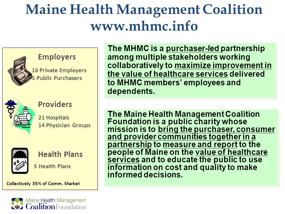 0 Multi-stakeholder Payment Reform and System Redesign: Working Together to Improve Healthcare Value Elizabeth Mitchell CEO Maine Health Management Coalition