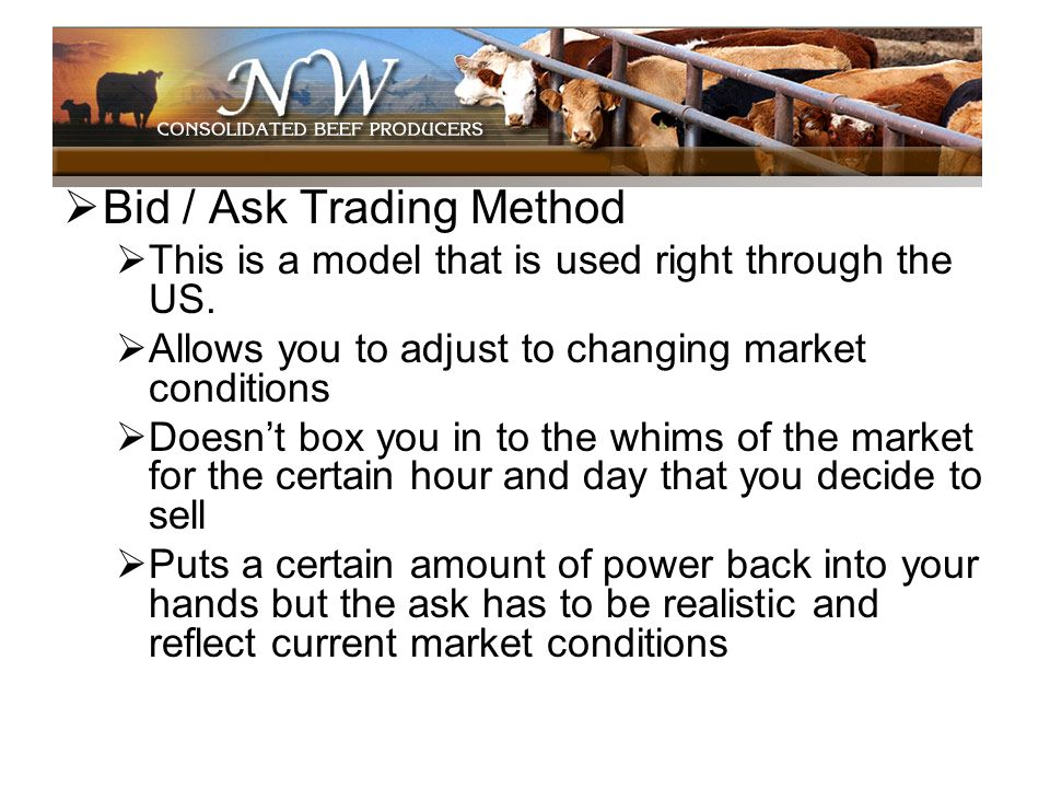 Bid / Ask Trading Method This is a model that is used right through the US. Allows you to adjust to changing market conditions Doesnt box you in to th