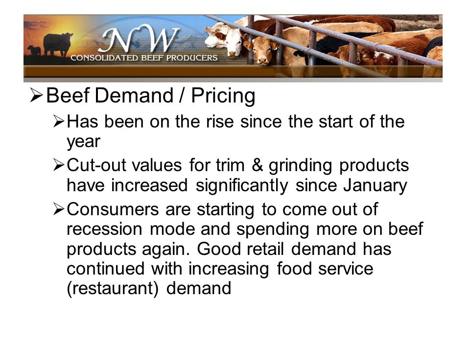 Beef Demand / Pricing Has been on the rise since the start of the year Cut-out values for trim & grinding products have increased significantly since
