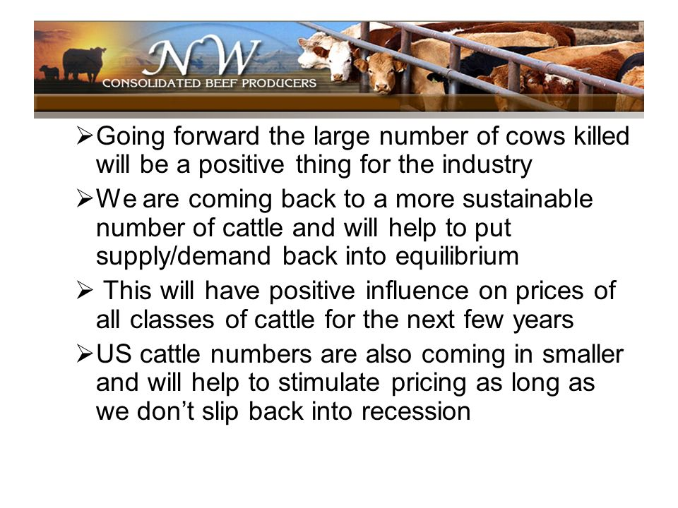 Going forward the large number of cows killed will be a positive thing for the industry We are coming back to a more sustainable number of cattle and