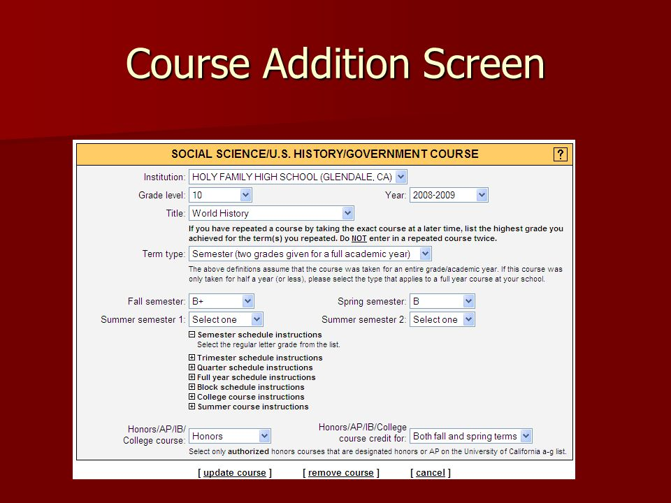 Course Addition Screen