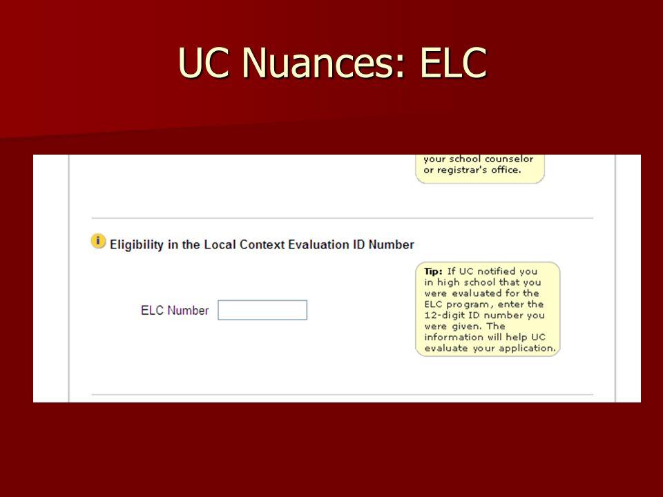 UC Nuances: ELC