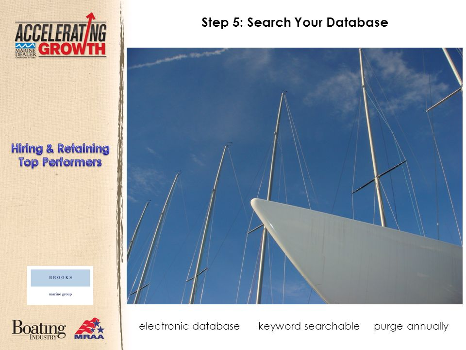Step 5: Search Your Database electronic databasekeyword searchablepurge annually