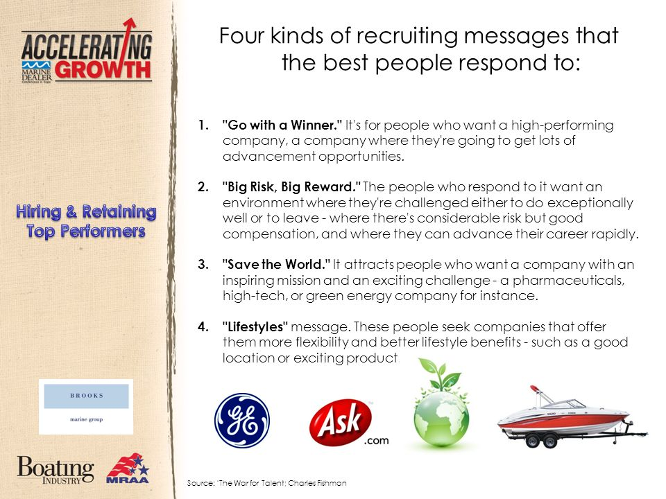 Four kinds of recruiting messages that the best people respond to: 1.