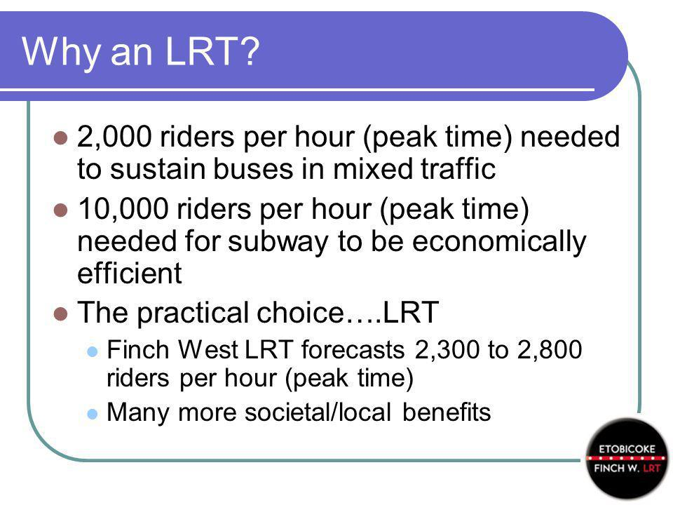 Why an LRT? 2,000 riders per hour (peak time) needed to sustain buses in mixed traffic 10,000 riders per hour (peak time) needed for subway to be econ