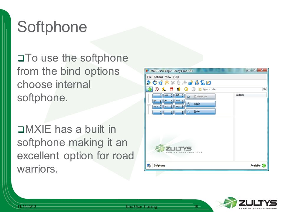 Softphone To use the softphone from the bind options choose internal softphone. MXIE has a built in softphone making it an excellent option for road w