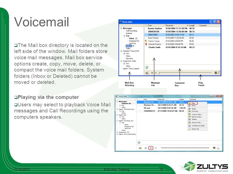Voicemail The Mail box directory is located on the left side of the window. Mail folders store voice mail messages. Mail box service options create, c