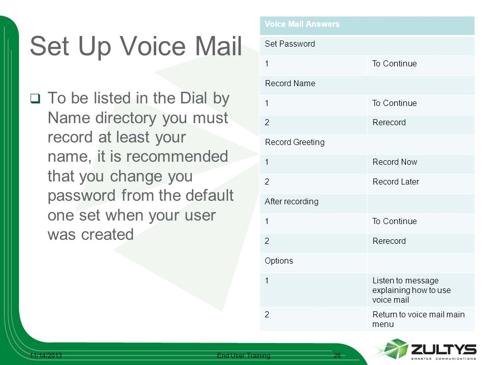 Set Up Voice Mail To be listed in the Dial by Name directory you must record at least your name, it is recommended that you change you password from t