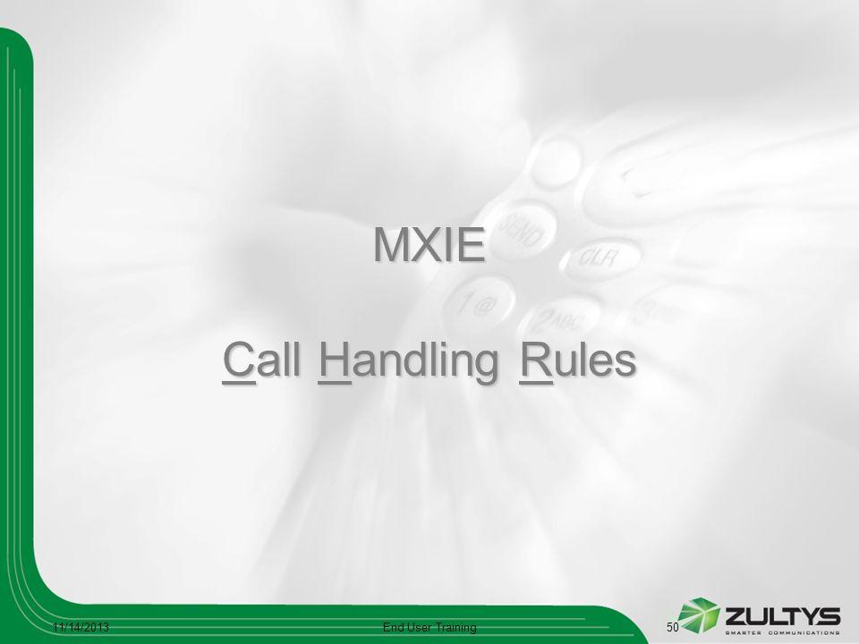 MXIE Call Handling Rules 11/14/2013End User Training50