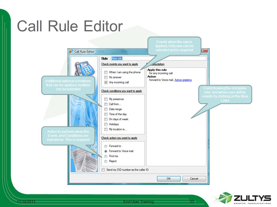 Call Rule Editor 11/14/2013End User Training53 Additional optional conditions that can be applied, multiple can be selected Events when the rule is ap