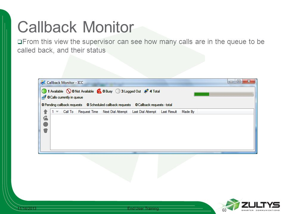 Callback Monitor From this view the supervisor can see how many calls are in the queue to be called back, and their status 11/14/2013End User Training