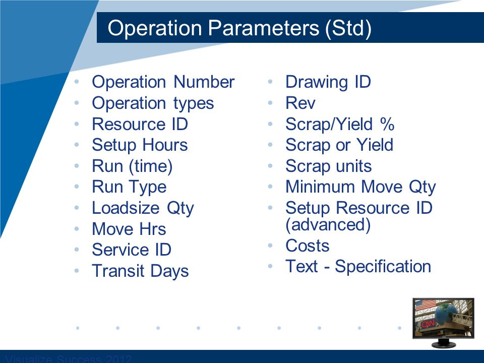 Visualize Success 2012 Operation Parameters (Std) Operation Number Operation types Resource ID Setup Hours Run (time) Run Type Loadsize Qty Move Hrs Service ID Transit Days Drawing ID Rev Scrap/Yield % Scrap or Yield Scrap units Minimum Move Qty Setup Resource ID (advanced) Costs Text - Specification