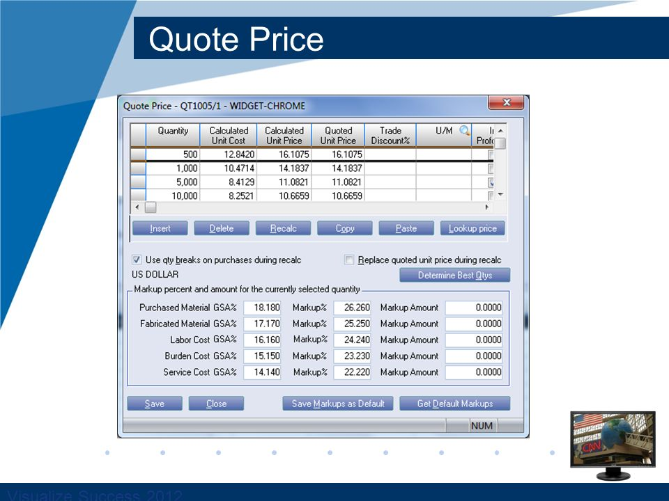 Visualize Success 2012 Quote Price