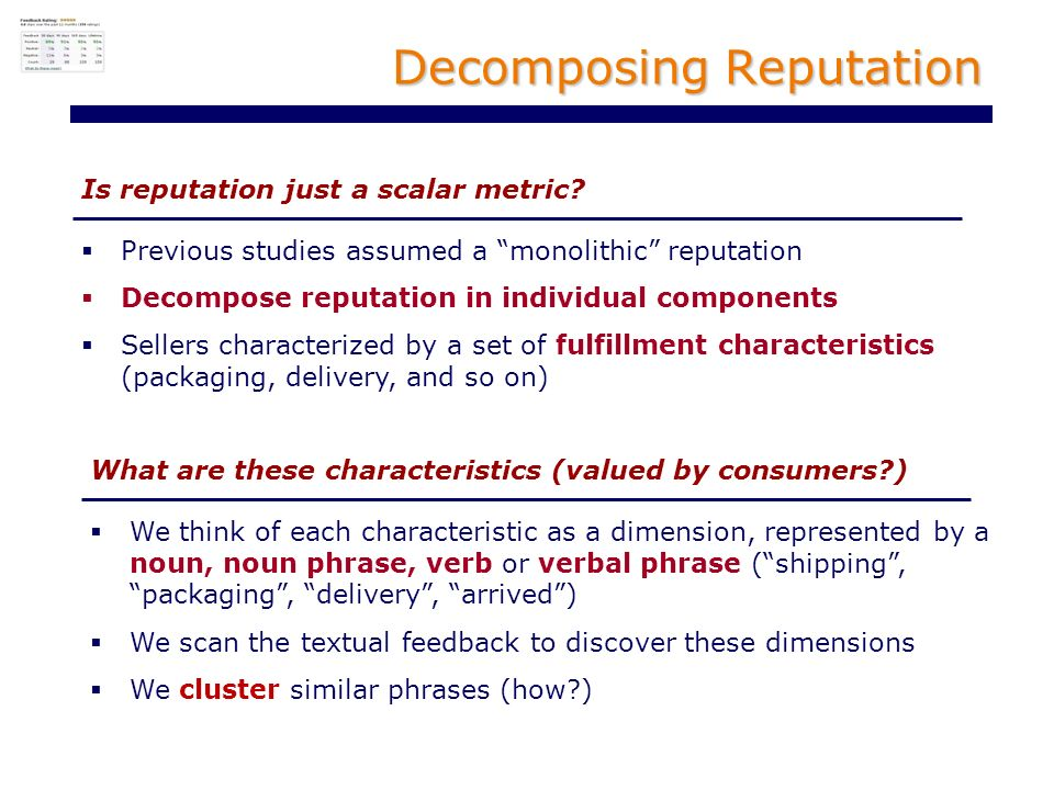 Decomposing Reputation Is reputation just a scalar metric.