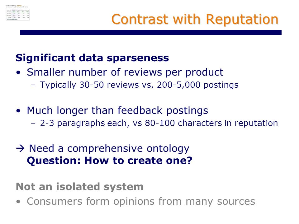 Contrast with Reputation Significant data sparseness Smaller number of reviews per product –Typically 30-50 reviews vs.