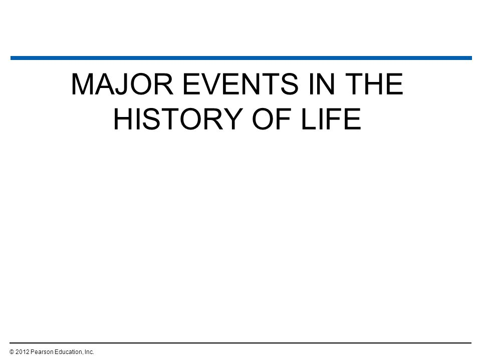 MAJOR EVENTS IN THE HISTORY OF LIFE © 2012 Pearson Education, Inc.