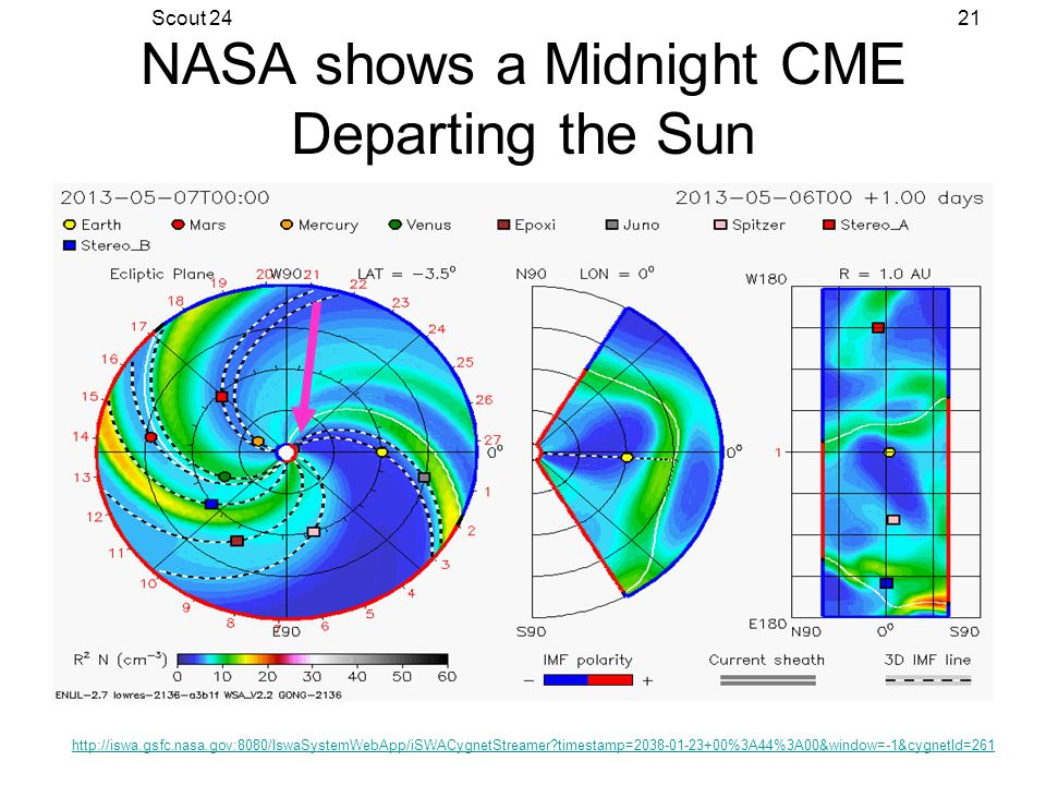 Scout 2421 NASA shows a Midnight CME Departing the Sun http://iswa.gsfc.nasa.gov:8080/IswaSystemWebApp/iSWACygnetStreamer?timestamp=2038-01-23+00%3A44