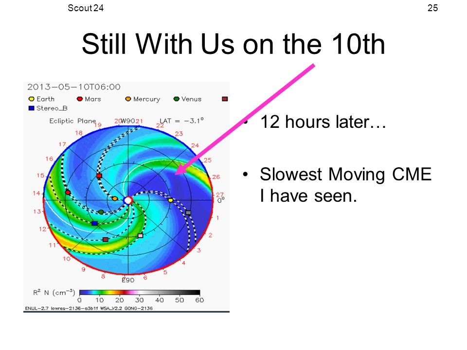 Scout 2425 Still With Us on the 10th 12 hours later… Slowest Moving CME I have seen.