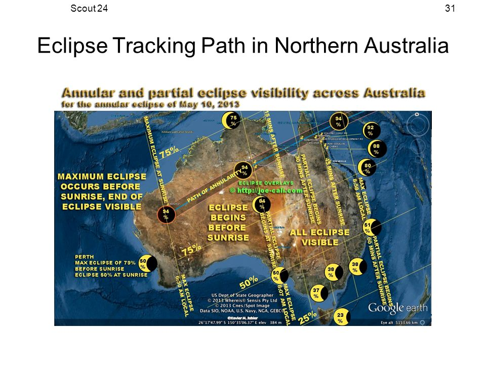 Scout 2431 Eclipse Tracking Path in Northern Australia