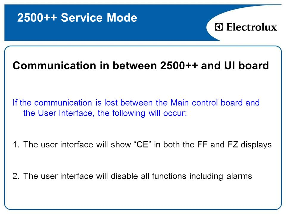 2500++ Service Mode Communication in between 2500++ and UI board If the communication is lost between the Main control board and the User Interface, t