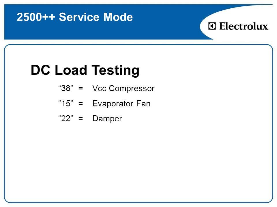 2500++ Service Mode DC Load Testing 38 = Vcc Compressor 15 = Evaporator Fan 22 = Damper