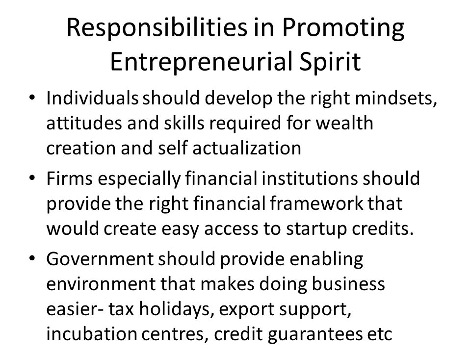 Responsibilities in Promoting Entrepreneurial Spirit Individuals should develop the right mindsets, attitudes and skills required for wealth creation