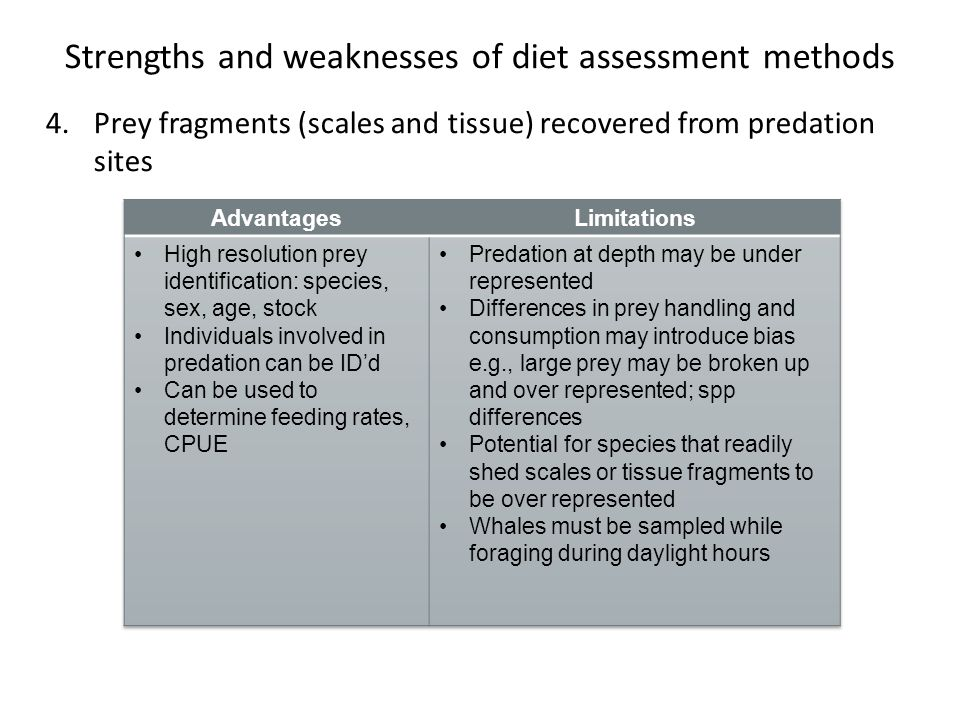 Strengths and weaknesses of diet assessment methods 4.Prey fragments (scales and tissue) recovered from predation sites