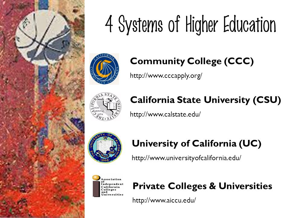 Community College (CCC) http://www.cccapply.org/ 4 Systems of Higher Education University of California (UC) http://www.universityofcalifornia.edu/ Ca