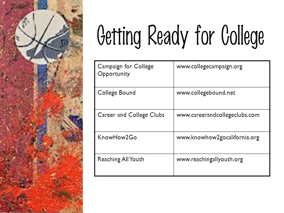 Getting Ready for College Campaign for College Opportunity www.collegecampaign.org College Boundwww.collegebound.net Career and College Clubswww.caree