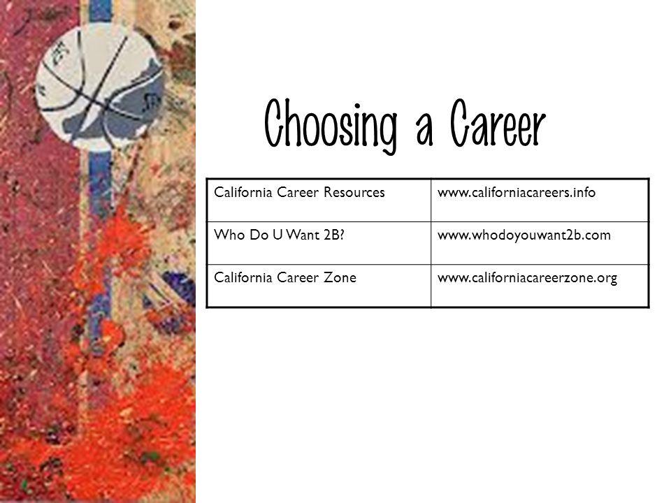 Choosing a Career California Career Resourceswww.californiacareers.info Who Do U Want 2B?www.whodoyouwant2b.com California Career Zonewww.californiaca