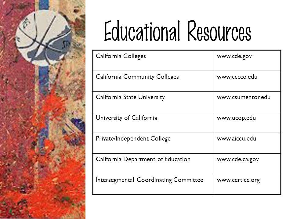 Educational Resources California Collegeswww.cde.gov California Community Collegeswww.cccco.edu California State Universitywww.csumentor.edu Universit