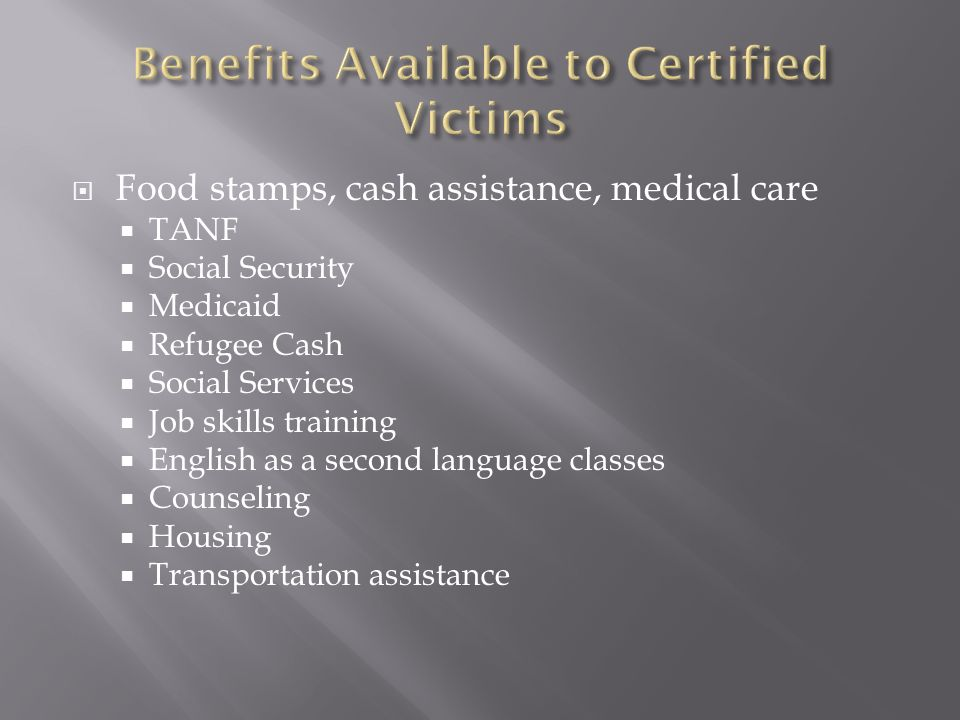 Food stamps, cash assistance, medical care TANF Social Security Medicaid Refugee Cash Social Services Job skills training English as a second language