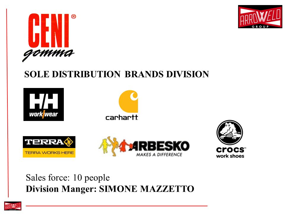 SOLE DISTRIBUTION BRANDS DIVISION Sales force: 10 people Division Manger: SIMONE MAZZETTO