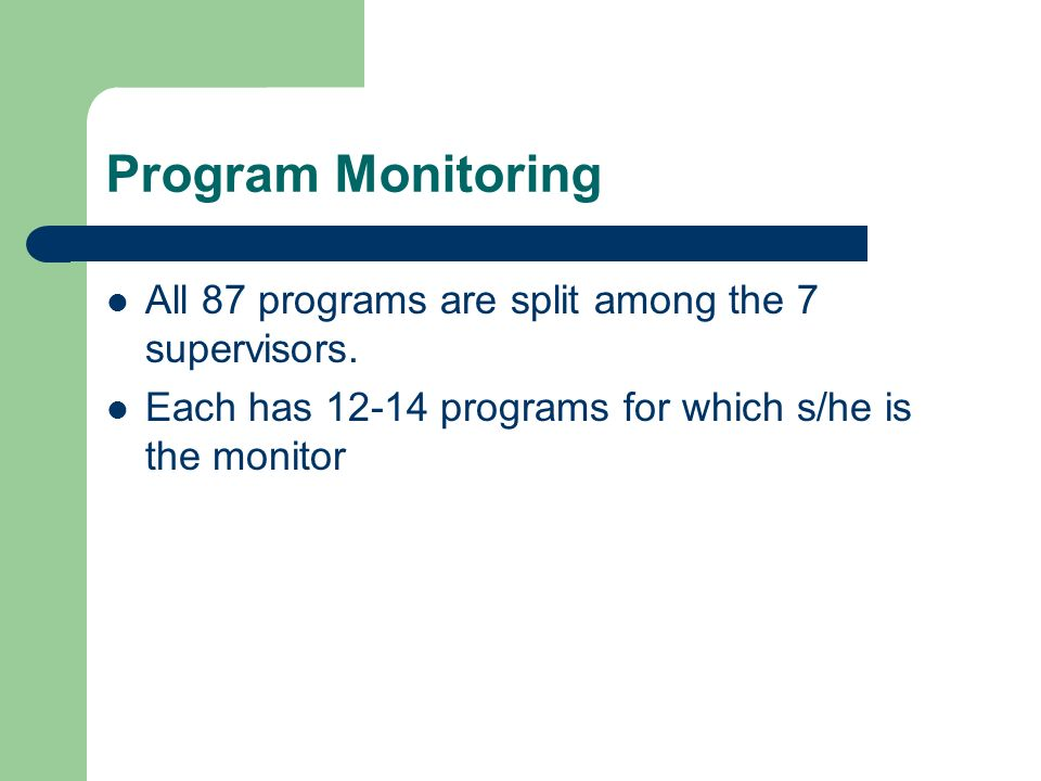 Program Monitoring All 87 programs are split among the 7 supervisors. Each has 12-14 programs for which s/he is the monitor
