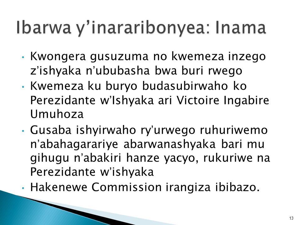 Kwongera gusuzuma no kwemeza inzego zishyaka nububasha bwa buri rwego Kwemeza ku buryo budasubirwaho ko Perezidante wIshyaka ari Victoire Ingabire Umu