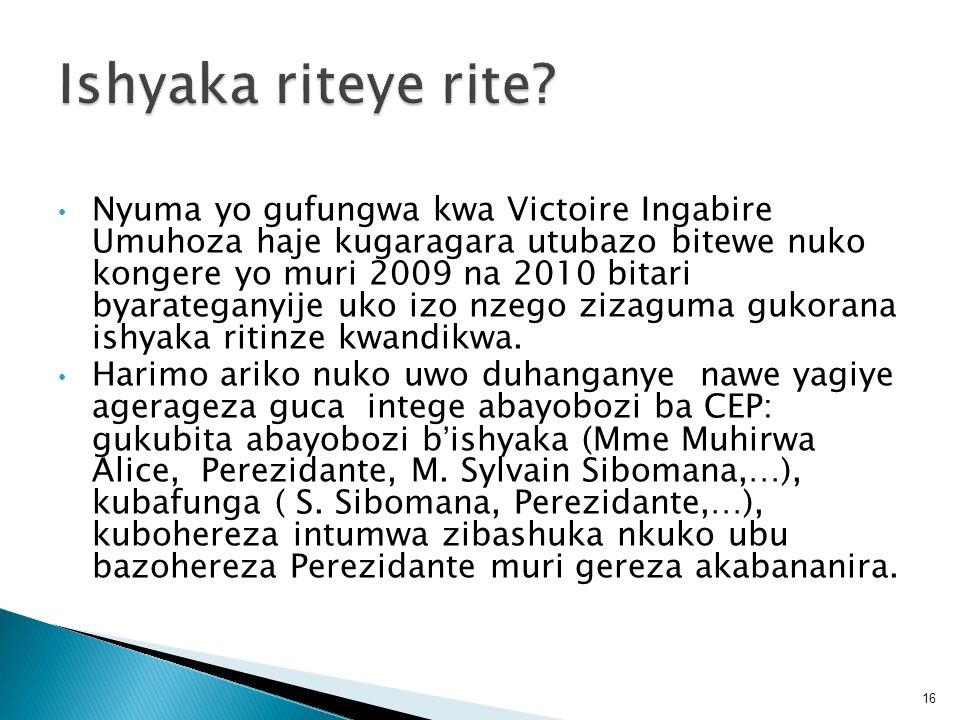 Nyuma yo gufungwa kwa Victoire Ingabire Umuhoza haje kugaragara utubazo bitewe nuko kongere yo muri 2009 na 2010 bitari byarateganyije uko izo nzego z