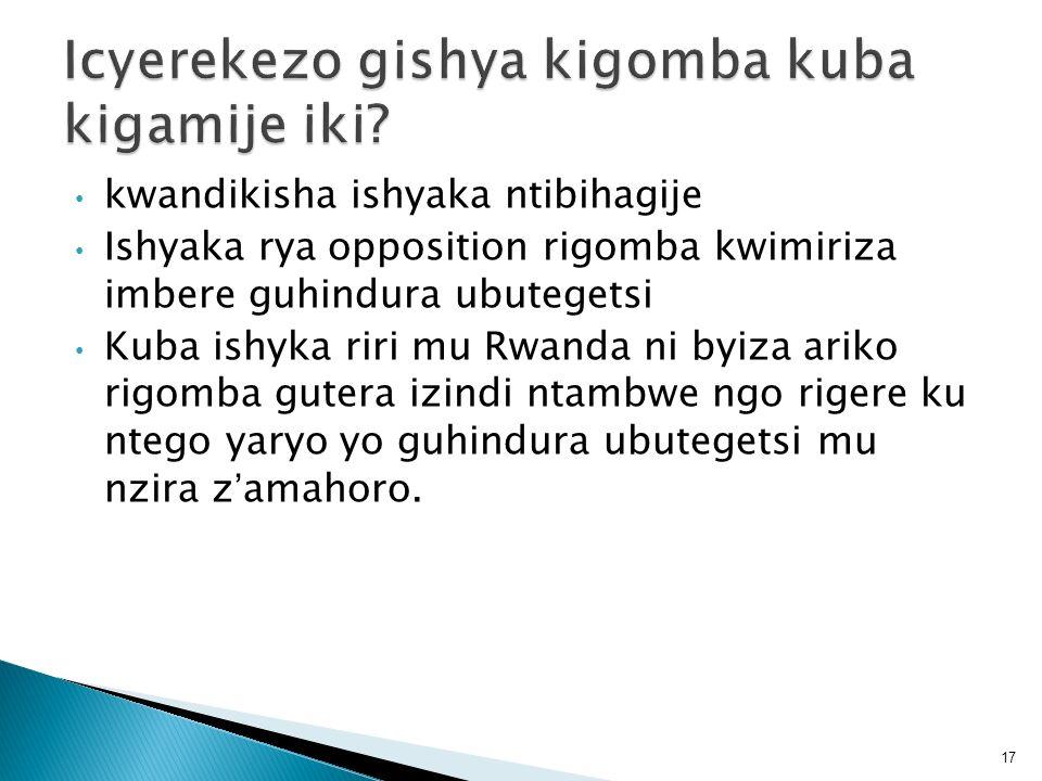 kwandikisha ishyaka ntibihagije Ishyaka rya opposition rigomba kwimiriza imbere guhindura ubutegetsi Kuba ishyka riri mu Rwanda ni byiza ariko rigomba