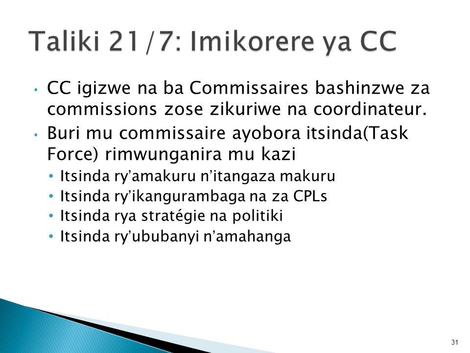 CC igizwe na ba Commissaires bashinzwe za commissions zose zikuriwe na coordinateur. Buri mu commissaire ayobora itsinda(Task Force) rimwunganira mu k