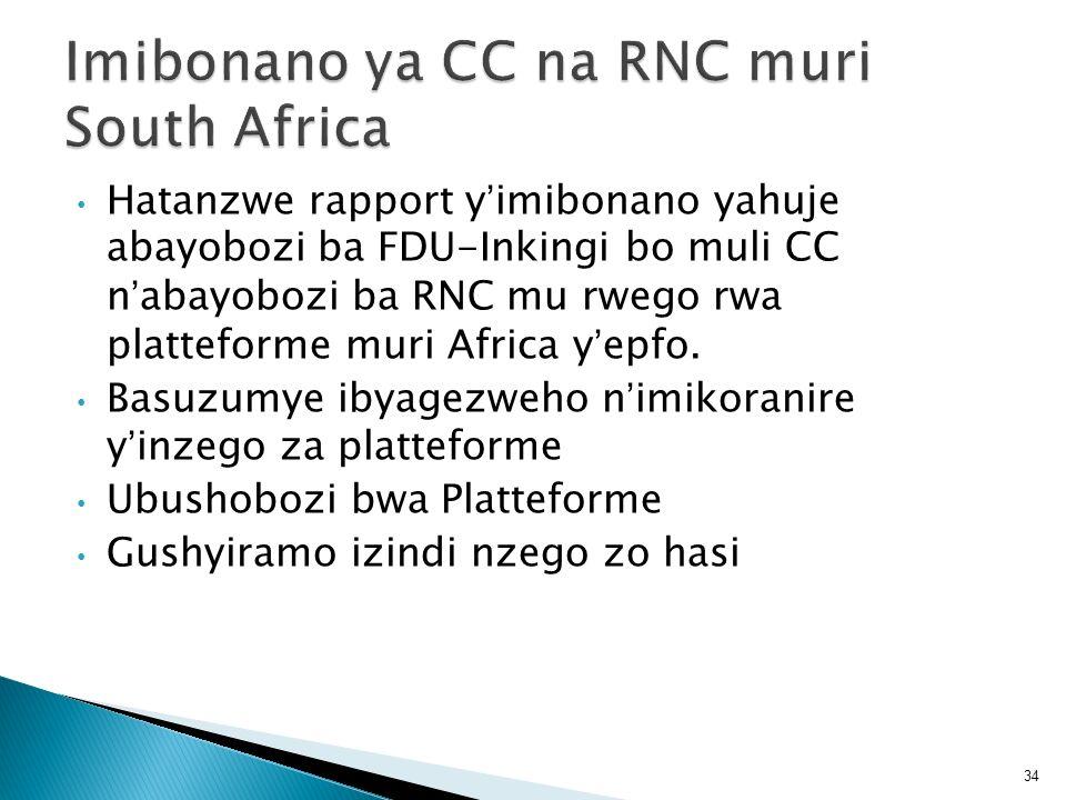Hatanzwe rapport yimibonano yahuje abayobozi ba FDU-Inkingi bo muli CC nabayobozi ba RNC mu rwego rwa platteforme muri Africa yepfo. Basuzumye ibyagez