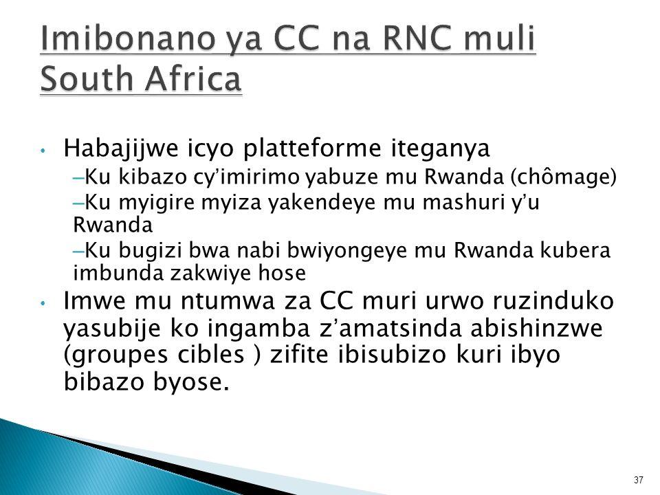 Habajijwe icyo platteforme iteganya – Ku kibazo cyimirimo yabuze mu Rwanda (chômage) – Ku myigire myiza yakendeye mu mashuri yu Rwanda – Ku bugizi bwa