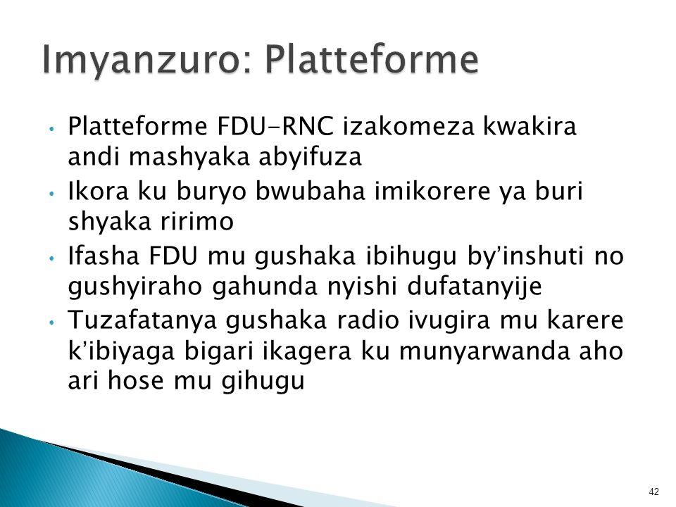 Platteforme FDU-RNC izakomeza kwakira andi mashyaka abyifuza Ikora ku buryo bwubaha imikorere ya buri shyaka ririmo Ifasha FDU mu gushaka ibihugu byin