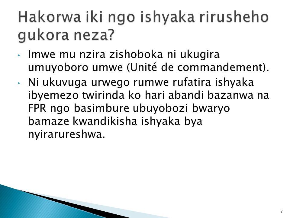 Imwe mu nzira zishoboka ni ukugira umuyoboro umwe (Unité de commandement). Ni ukuvuga urwego rumwe rufatira ishyaka ibyemezo twirinda ko hari abandi b
