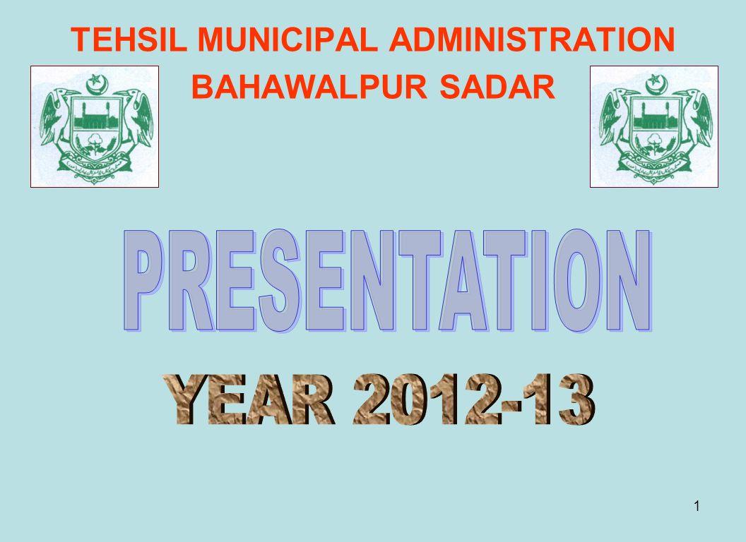 1 TEHSIL MUNICIPAL ADMINISTRATION BAHAWALPUR SADAR