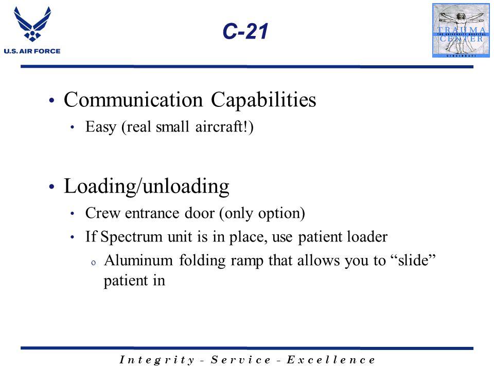 I n t e g r i t y - S e r v i c e - E x c e l l e n c e C-21 Communication Capabilities Easy (real small aircraft!) Loading/unloading Crew entrance do