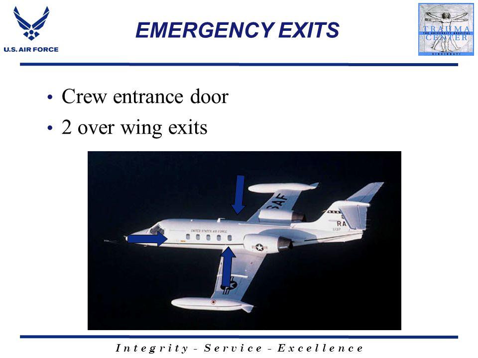 I n t e g r i t y - S e r v i c e - E x c e l l e n c e EMERGENCY EXITS Crew entrance door 2 over wing exits