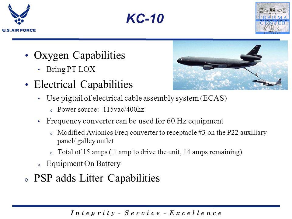 I n t e g r i t y - S e r v i c e - E x c e l l e n c e KC-10 Oxygen Capabilities Bring PT LOX Electrical Capabilities Use pigtail of electrical cable