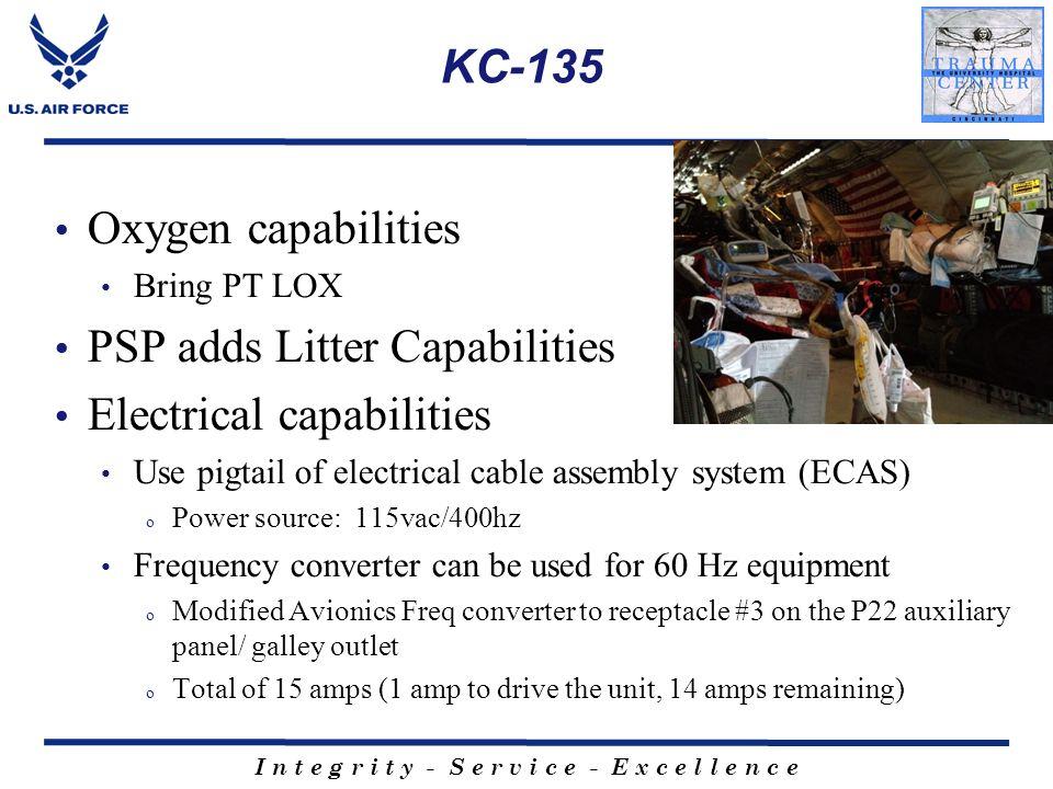 I n t e g r i t y - S e r v i c e - E x c e l l e n c e KC-135 Oxygen capabilities Bring PT LOX PSP adds Litter Capabilities Electrical capabilities U