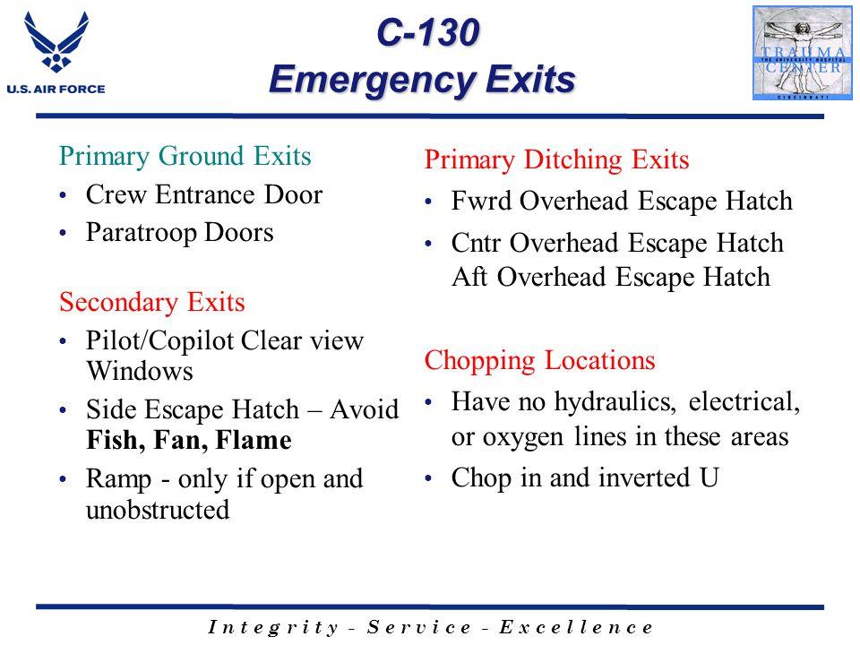 I n t e g r i t y - S e r v i c e - E x c e l l e n c e C-130 Emergency Exits C-130 Emergency Exits Primary Ground Exits Crew Entrance Door Paratroop